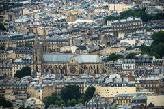 Panoramic view of Paris from the Eiffel tower stock photo