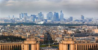 Panorama of Paris, France with the Palais du Chaillot and the Defense district seen from the top of Eiffel Tower or Tour Eiffel. Panoramic view of Paris, France royalty free stock image