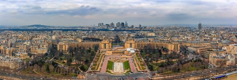 Panorama of Paris, France with Palais du Chaillot and the Defense district seen from the top of the Eiffel Tower or Tour Eiffel. Panoramic view of Paris, France royalty free stock photography