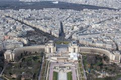 Panoramic view of Paris from the height of the Elven tower.  Royalty Free Stock Photography