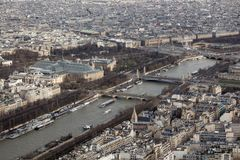 Panoramic view of Paris from the height of the Elven tower.  Royalty Free Stock Photo