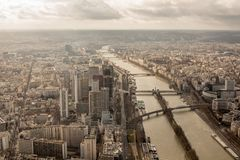 Panoramic view of Paris from the height of the Elven tower.  Stock Photography