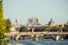 Panoramic view of Paris monuments from bridge over Seine Royalty Free Stock Photography