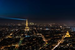 Panoramic view of Paris at night Royalty Free Stock Photography