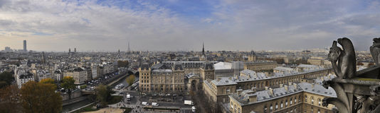 Panoramic view of Paris from Notre Dame Royalty Free Stock Image