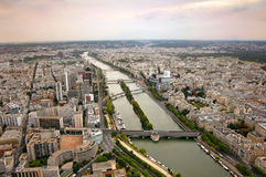 Panoramic view of Paris and river Seine Royalty Free Stock Photos