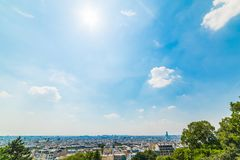 Panoramic view of Paris seen from Montmartre terrace stock image