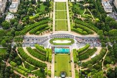 Panoramic view of Paris. Tuileries garden royalty free stock photos