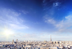 Panoramic view of Paris at warm sunrise with silhouette of Eiffel tower Royalty Free Stock Photography