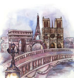 The panoramic view of Paris  watercolor Stock Photography