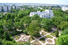 Panoramic view of the park, historical Art Nouveau building and cargo terminal in Riga Stock Images