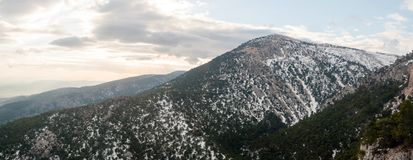 Parnitha mountain with snow, Greece Royalty Free Stock Image