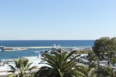 Panoramic view of a part of the port of Barcelona stock images