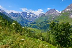 Panoramic view at Pasterze Glacier Grossglockner royalty free stock image