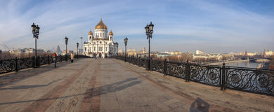 Panoramic view Patriarshy footbridge to Cathedral of Christ the Saviour Stock Photography