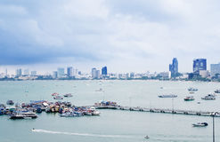 Panoramic view of Pattaya beach and Pattaya city Royalty Free Stock Photo