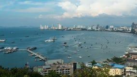 Panoramic view of Pattaya City Beach at Pratumnak Viewpoint. Thailand stock video footage