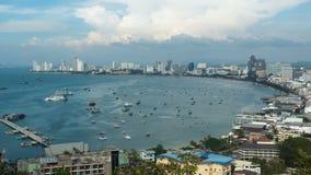 Panoramic view of Pattaya City Beach at Pratumnak Viewpoint. Timelapse. Thailand, Pattaya, Asia stock footage