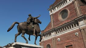 Panoramic view of Pavia Cathedral and ancient equestrian statue of Regisole, Italy.  stock video footage