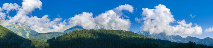 Panoramic view of peaceful Himalaya peaks. Ultra high resolution. Panoramic view of peaceful Himalaya peaks from Pahalgam, Jammu and Kashmir, India Stock Image
