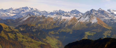 Panoramic view from a peak of Mount Pilatus Royalty Free Stock Photos