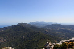 Panoramic view from the peak of mountain Puig de Galatzo in Majorca Royalty Free Stock Photo