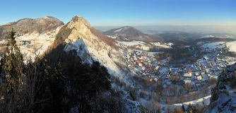 Panoramic view from peak Vrstec in winter Stock Photography
