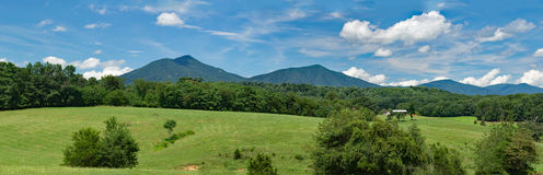 Panoramic View of the Peaks of Otter. A beautiful panoramic view of the Peaks of Otter located rural Bedford County, Virginia, USA Royalty Free Stock Photography