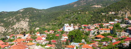 Panoramic view of Pedoulas Village. Cyprus. Nicosia District Royalty Free Stock Photos
