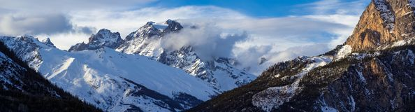 Panoramic view of the Pelvoux mountain range in the Ecrins National Park. Hautes-Alpes, Alps, Fran. Panoramic view of the Pelvoux mountain range Pelvoux and Royalty Free Stock Photos