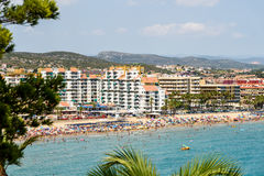 Panoramic View Of Peniscola City Holiday Beach Resort At Mediterranean Sea In Spain Stock Images