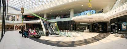 Panoramic View Of People Crowd Rush In Shopping Luxury Mall Interior Royalty Free Stock Photography