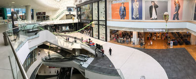Panoramic View Of People Crowd Rush In Shopping Luxury Mall Interior Royalty Free Stock Photo