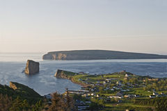 Panoramic view of Perce village and Perce Rock, Gaspe Stock Images