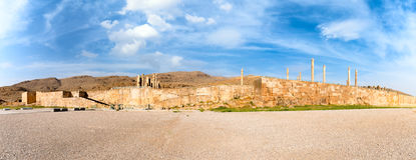 Panoramic view of Persepolis in northern Shiraz, Iran. Royalty Free Stock Photography