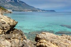Panoramic view of Pessada beach in Kefalonia, Greece. Panoramic view of Pessada beach in Kefalonia, Ionian Islands, Greece Stock Image