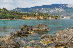 Panoramic view of Pessada beach in Kefalonia,  Greece. Panoramic view of Pessada beach in Kefalonia, Ionian Islands, Greece Royalty Free Stock Images