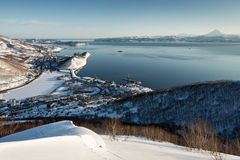 Panoramic view of Petropavlovsk-Kamchatsky City, Avacha Bay Royalty Free Stock Photos