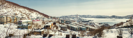 Panoramic view of Petropavlovsk-Kamchatsky city and power plant Royalty Free Stock Photos