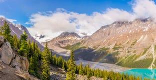 Panoramic view at the Peyto lake ,Peyto peek with rainbow from Bow Summit in Banff National Park - Canadian Rocky Mountains. Panoramic view at the Peyto lake royalty free stock photo