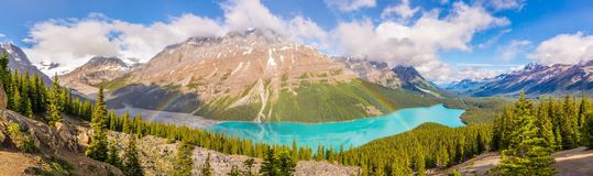 Panoramic view at the Peyto lake with rainbow from Bow Summit in Banff National Park - Canadian Rocky Mountains. Panoramic view at the Peyto lake with rainbow stock photos