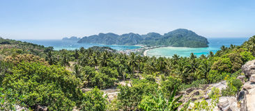 Panoramic view of phi phi island from the cape view point Stock Photo