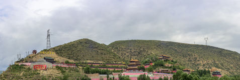 Panoramic view of phoenix mountain in Qinghai province. Phoenix mountain phoenix mountain is one of the key places in the origin and spread of Kunlun culture Royalty Free Stock Images
