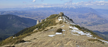 Panoramic view of  Piatra Craiului, Iezer and Fagaras Mountains Royalty Free Stock Photography