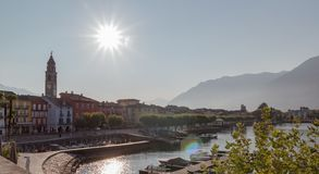 Panoramic view of the piazza in Ascona during a sunny day. Morning picture of the lake promenade of ascona stock image