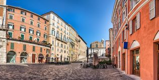 Panoramic view of the Piazza del Plebiscito , Ancona, Italy. Panoramic view of the Piazza del Plebiscito and the Saint Domenico church in the background in royalty free stock photo