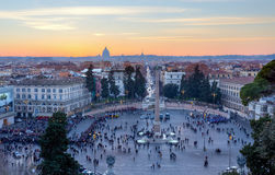 Panoramic view of Piazza del Popolo at sunset, Rome, Italy. Stock Photo
