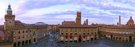 Panoramic view of piazza Maggiore - Bologna Stock Image