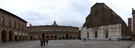 Panoramic view at the Piazza Maggiore of Bologna, Italy stock image