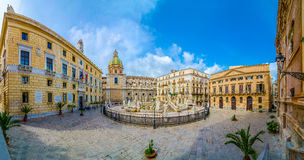 Panoramic view of Piazza Pretoria, Palermo, Sicily, Italy. Royalty Free Stock Images